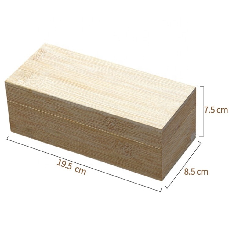 multifunctional small natural bamboo gift packaging box 19.5x8.8x7.5cm