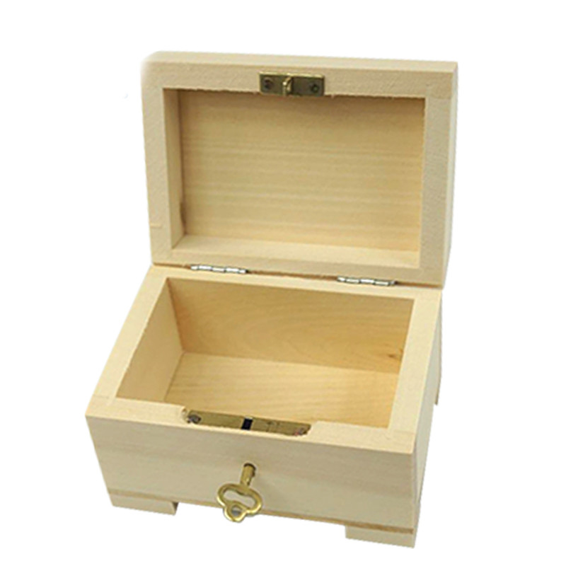 Packaging storage simple useful unfinished Wooden gift box with padlock