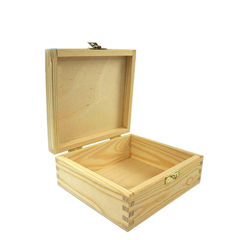 Hot sale customized packaging raw bamboo wood boxes with lock