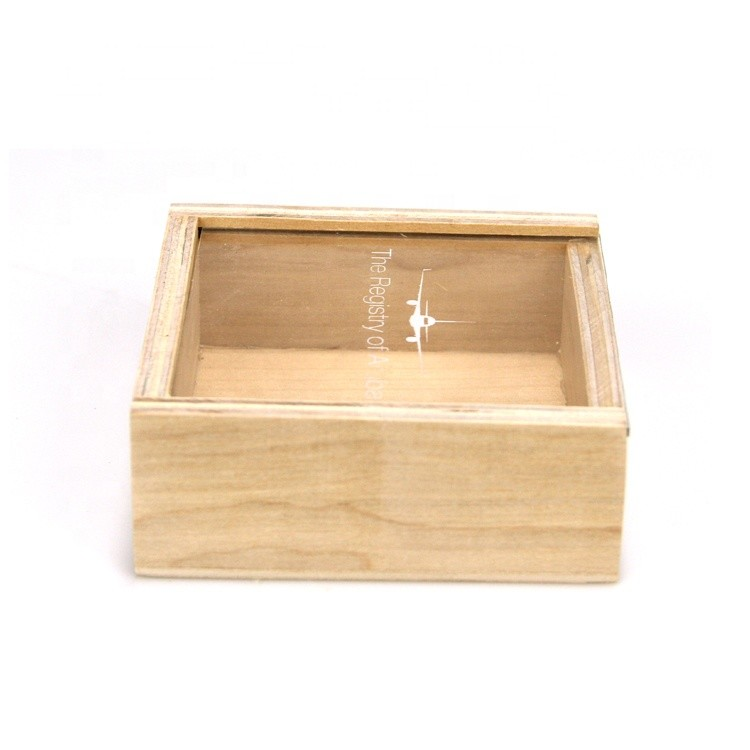 custom size unfinished small wooden storage box with sliding lid for packaging
