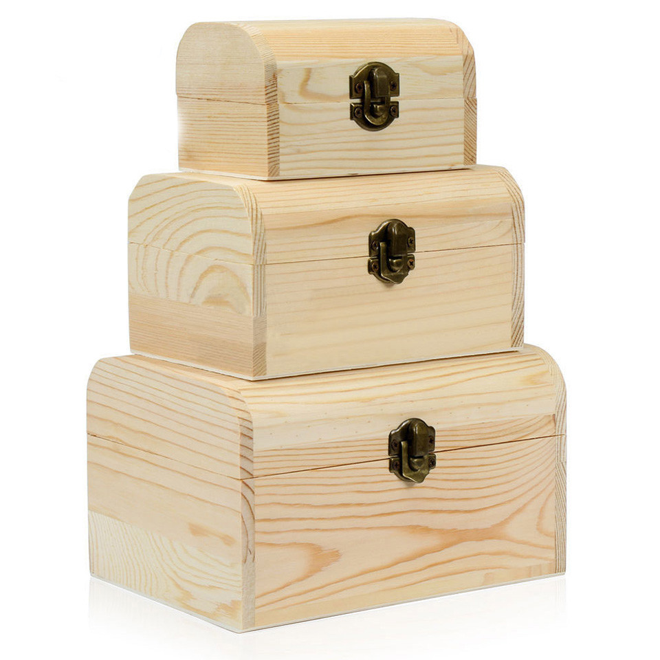 The most popular luxury unfinished wooden treasure boxes with lock
