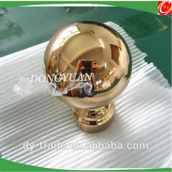 Golden stainless steel handrail/railing hollow top ball