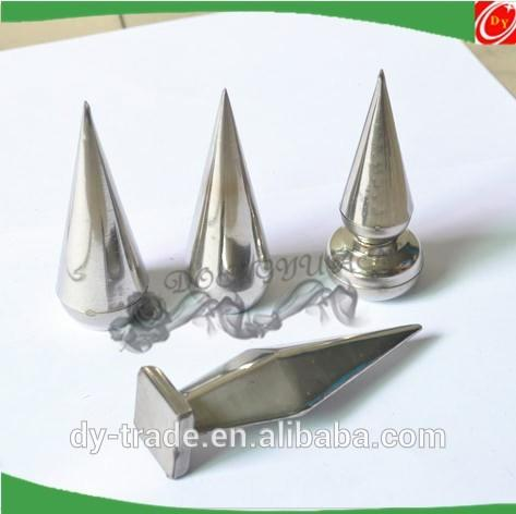Stainless steel spear with base for head railing accessories
