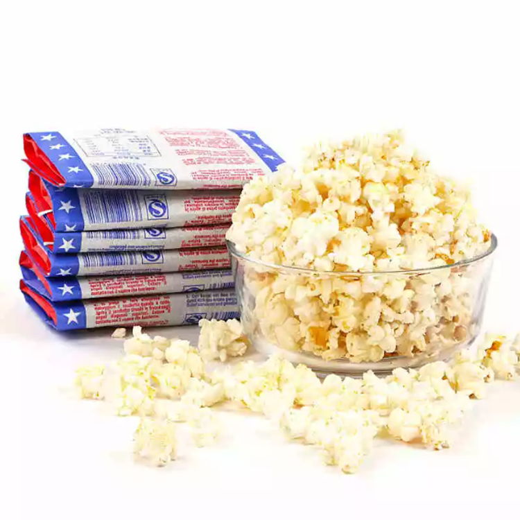 Microwave popcorn paper bag with double layer greaseproof paper