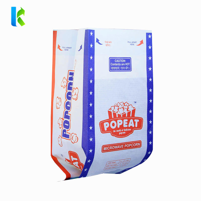 Flat bag with side gusset popcorn paper bag custom printing microwave popcorn paper bag