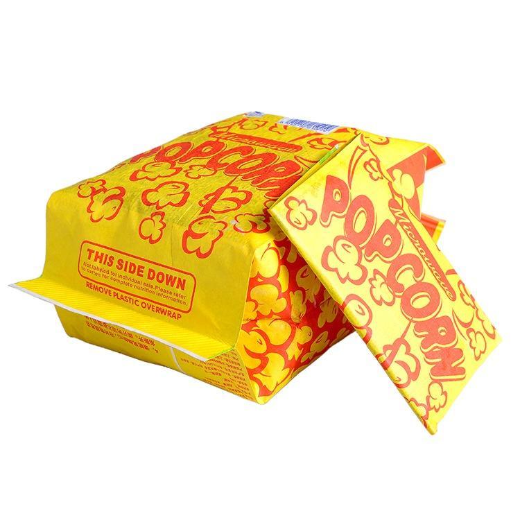Food Grade Custom Logo Printing Design Size Greaseproof Kraft Paper Microwave Popcorn Packaging Bags