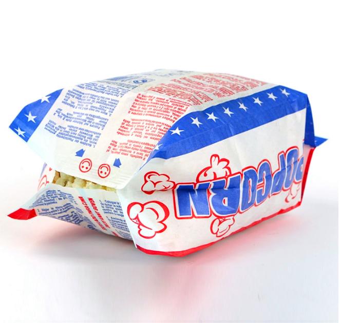 Kolysen Wholesale Custom Logo Printed Food Packaging Greaseproof Paper Microwave Popcorn Bags