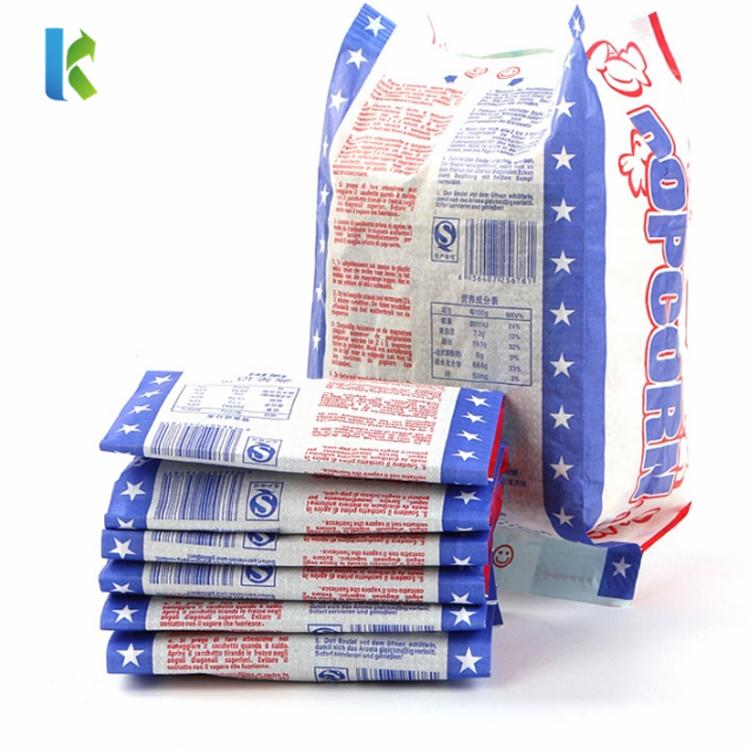 Design GreaseproofFor PopcornPaper NewBags Packaging Bulk Large Logo Printed Sealable Wholesale