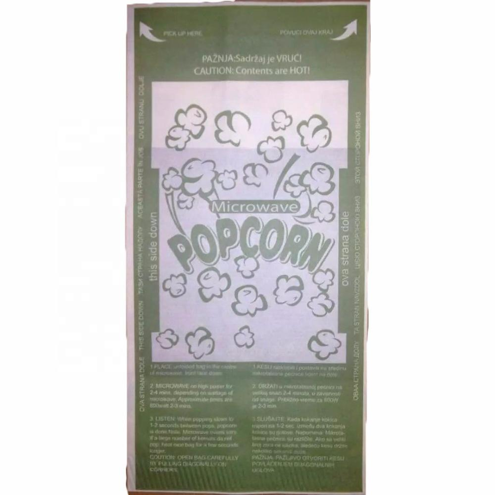China supplier Custom logo food grade Heat susceptor microwave popcorn paper bags