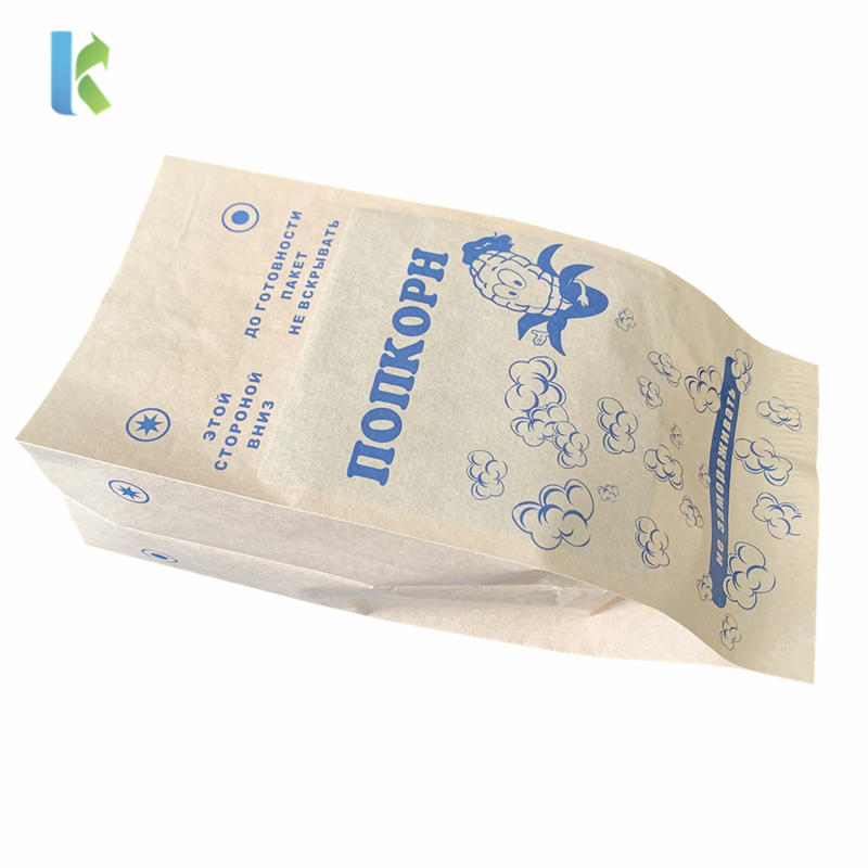 Design Large Sealable GreaseproofPaper Printed Microwave Logo Bulk Pop Corn Bags Custom Wholesale New
