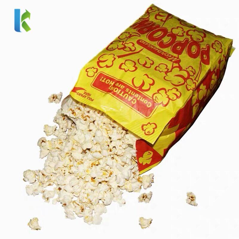 Para Factory Greaseproof Large Corn Logo Microonda Sealable Bulk NewBolso Wholesale Paper Bags For Popcorn Packaging
