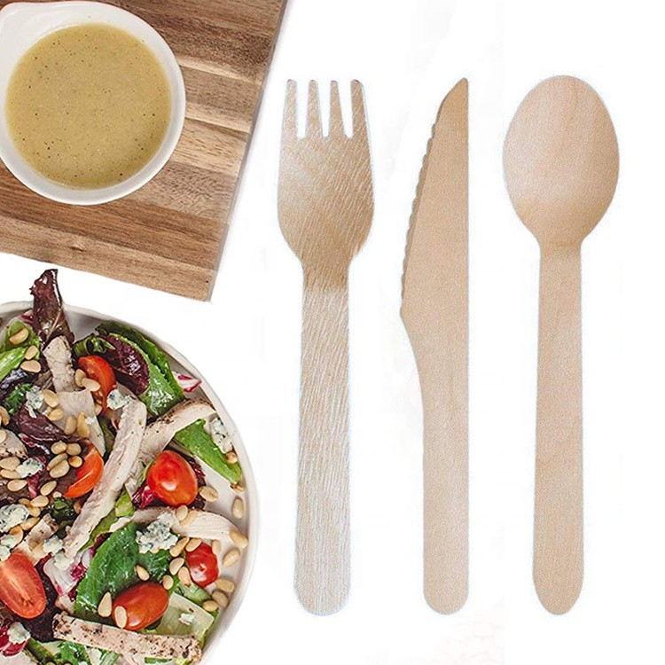 Vitalucks disposable wooden cutlery fork spoon knife dinnerware set compostable utensils flatware tableware sets