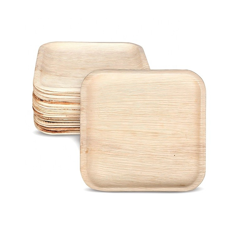 RomanticDisposable Biodegradable Areca Palm Leaf Wooden Bamboo Plate for Party
