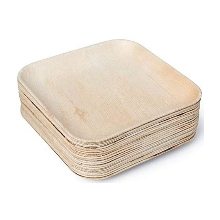 Disposable wooden plates biodegradable areca palm leaf plates for wedding party events