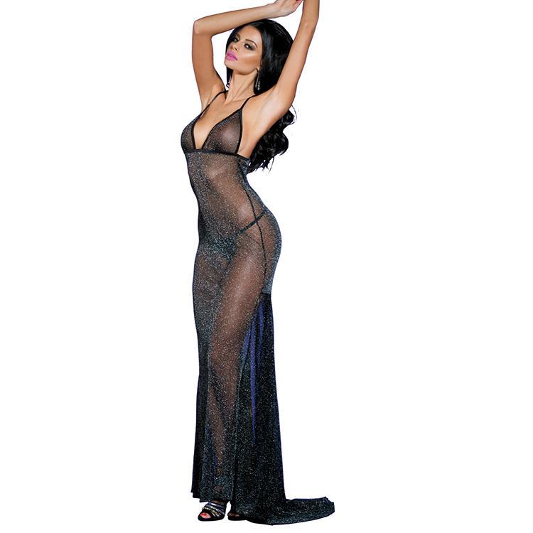 Sunspice high quality black sexy ladies long shining sleepwear dress lingerie set