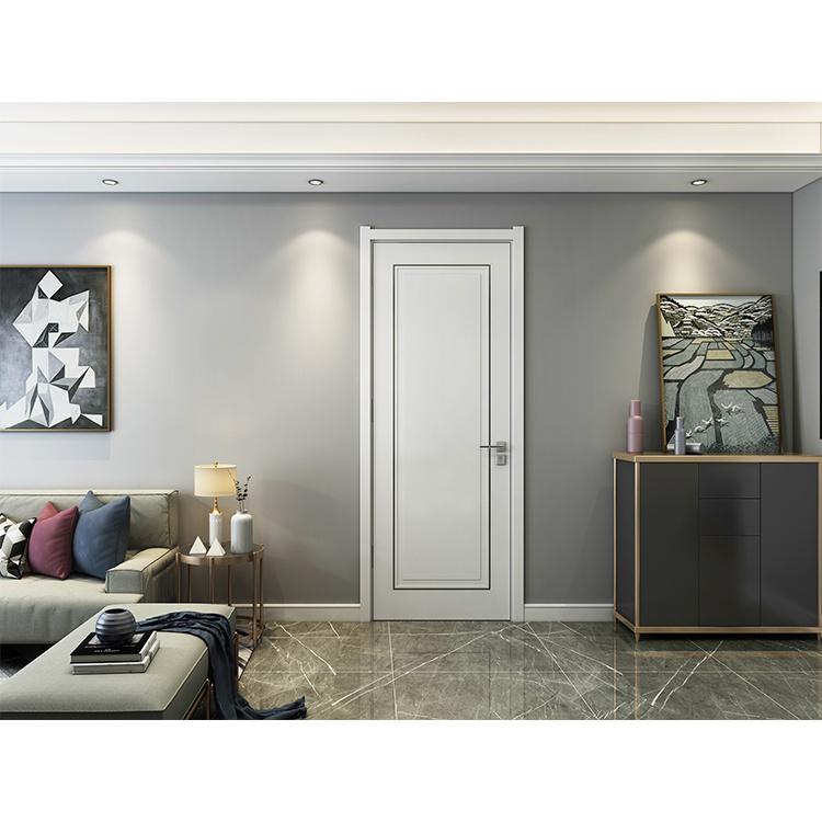 Classical Design White Room Wooden Modern House Solid Wood Door Brass Door Handles