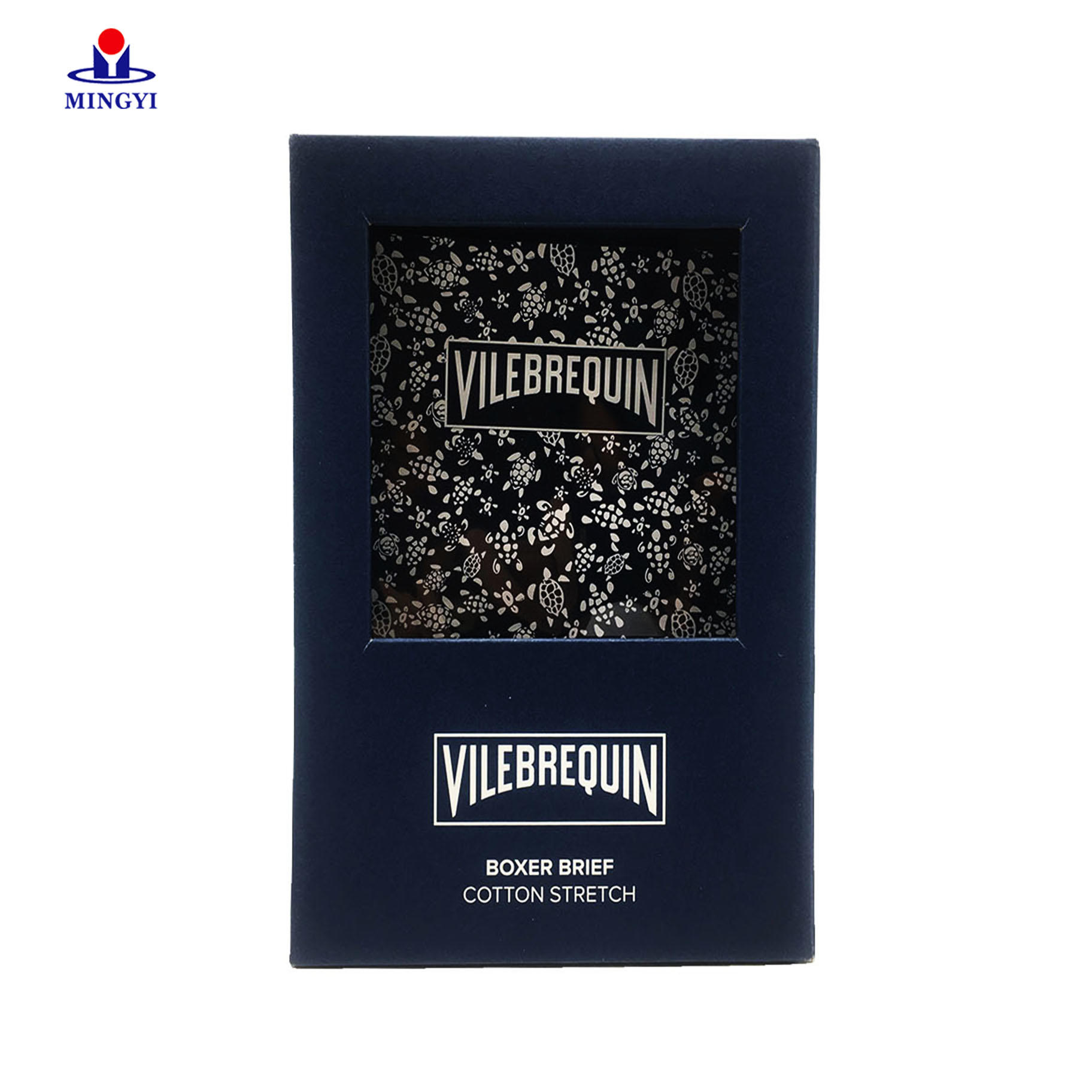 Customized High Quality Matte Rigid Cardboard Socks and underpants Paper Packaging Box with Clear Pvc Window Lift Off Lid
