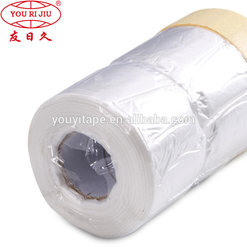auto paint masking film with crepe paper masking tape