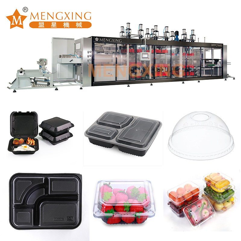 Full Automatic Robot Hand Vacuum Forming Machine Disposable Plastic Products Food Tray Cutting Machine Fresh Box Plate Thermoforming Machine
