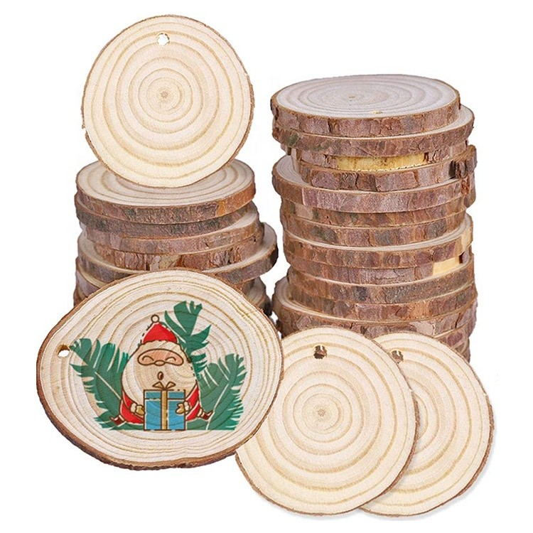 craft unfinished natural wood slices round christmas ornament wooden circles for arts and diy crafts