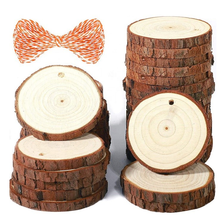 natural birch wood slices craft round basswood slabs for DIY coaster christmas ornament