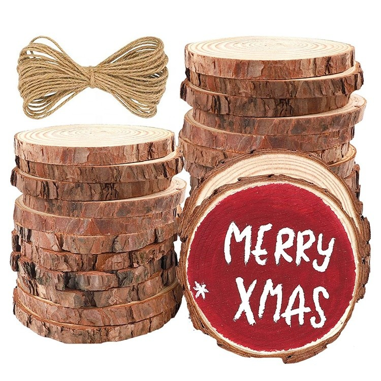 unfinished round natural wooden log disc slices with bark for arts painting christmas ornaments