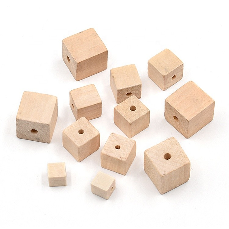 eco-friendly square solid wood bead for DIY necklace bracelets chandelier decoration