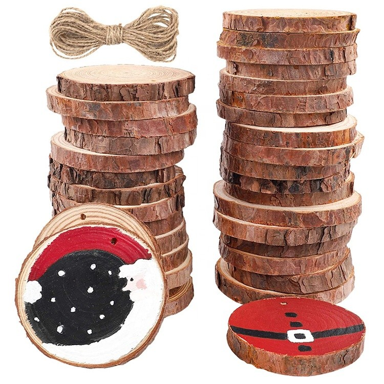 natural unfinished wood tree log slices with bark for christmas decoration wedding parties crafts