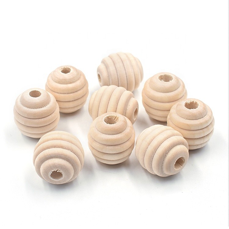 natural color organic round wood spiral wooden beads DIY accessories eco-friendly woodballs 20mm
