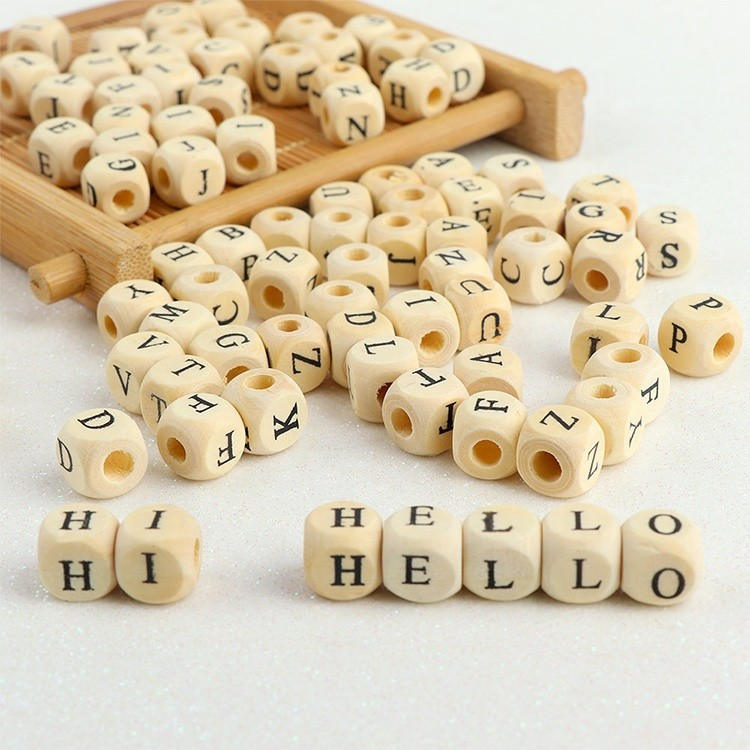 10mm 12mm wooden square cube alphabet letters beads for personalized baby education