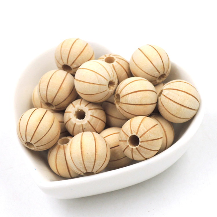 delicate pumpkin shape decorative koa beech wooden beads for crafts DIY necklace curtain bag dolls