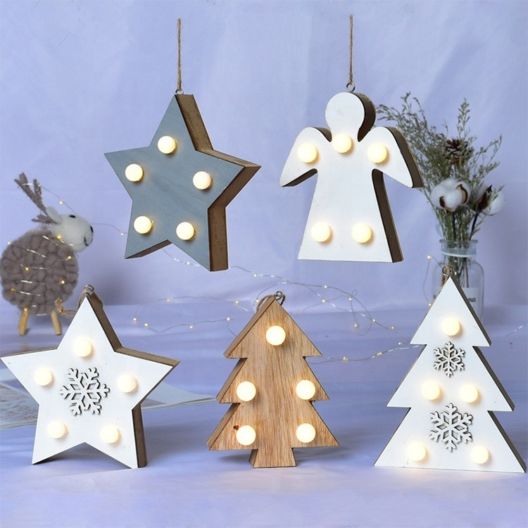 christmas decoration lights supplies wooden decoration with led lamp