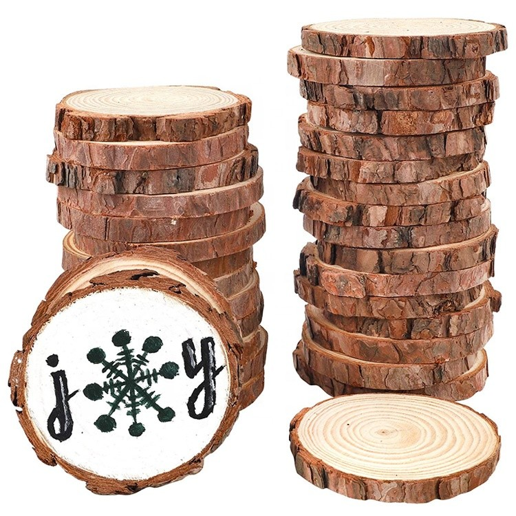 small christmas tree decorations craft wood round slices ornaments customizable