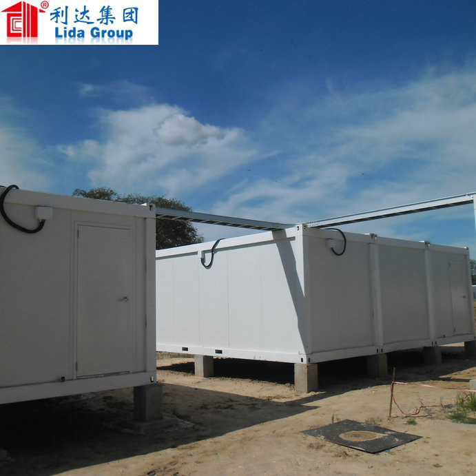 Temporary flat pack container transported by truck long lifespan