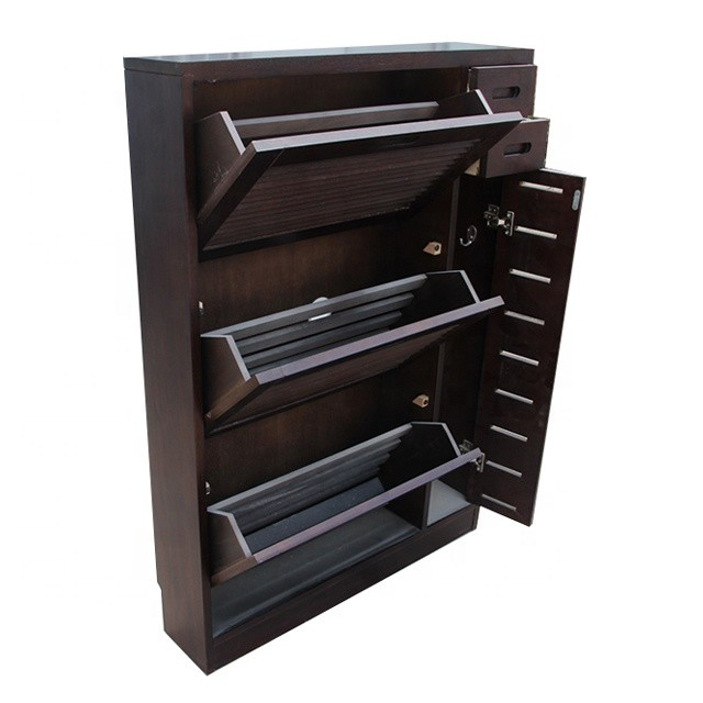 Rustic wood designed shoe reveal ark cabinet with cheap price