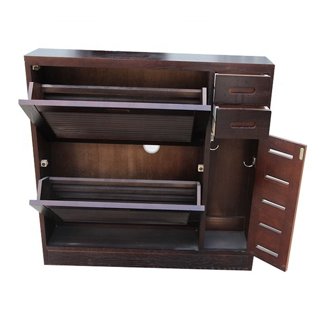 Large space cabinet wooden brown shoe ark rack to receive