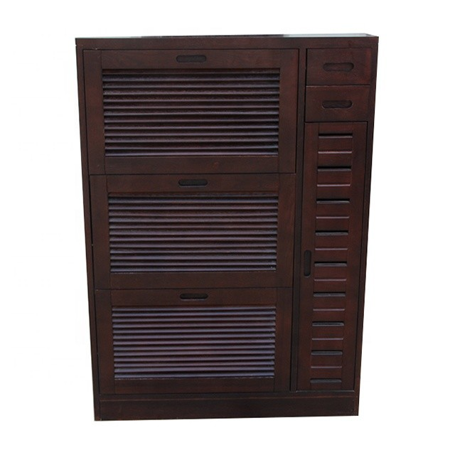 Luxury simple and useful three layers wooden shoe ark high gloss cabinet