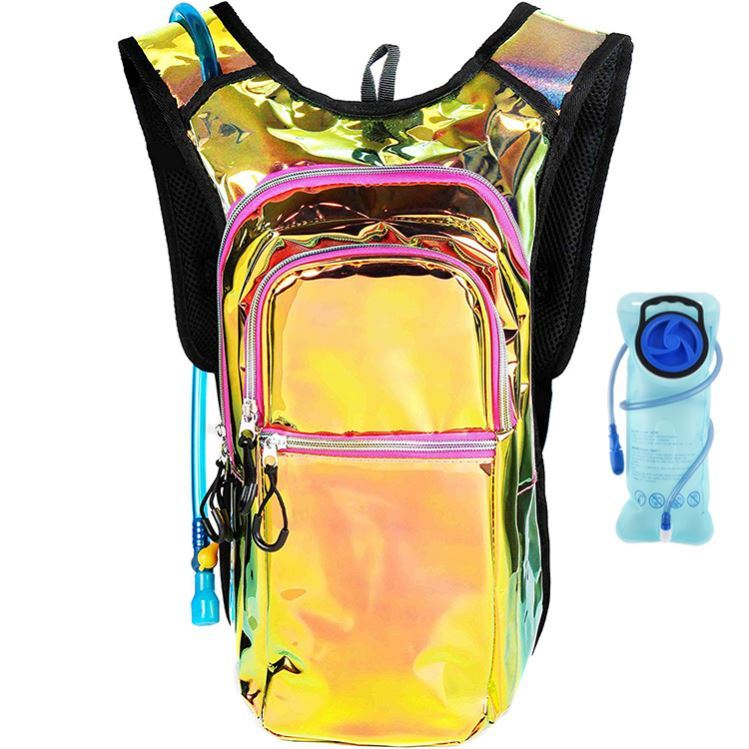 Osgoodway OEM Holographic Glitter Laser Rave Hydration Pack Backpack with 2l Bladder