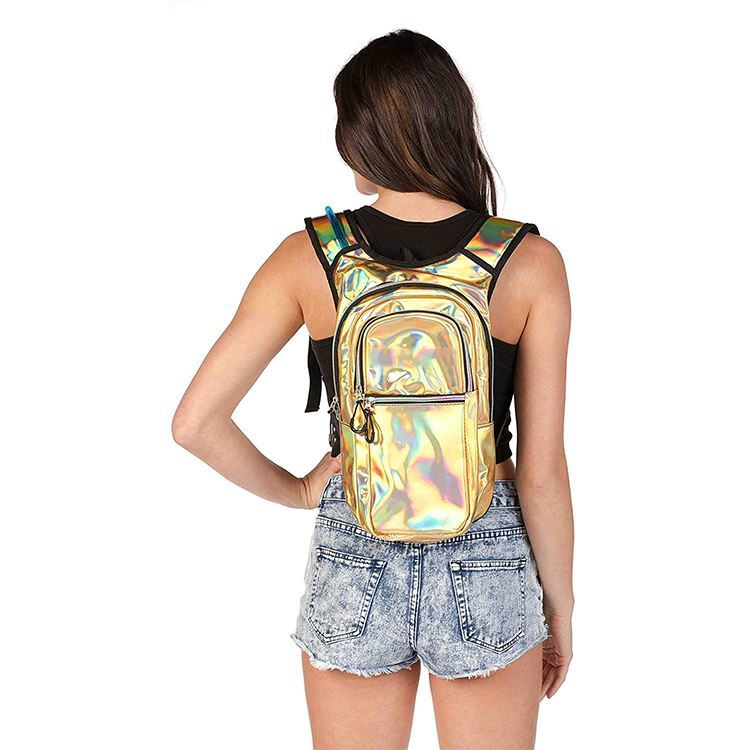 product-Osgoodway-Osgoodway Pink Custom Logo Hydration Backpack Holographic Hiking Backpack with Hyd