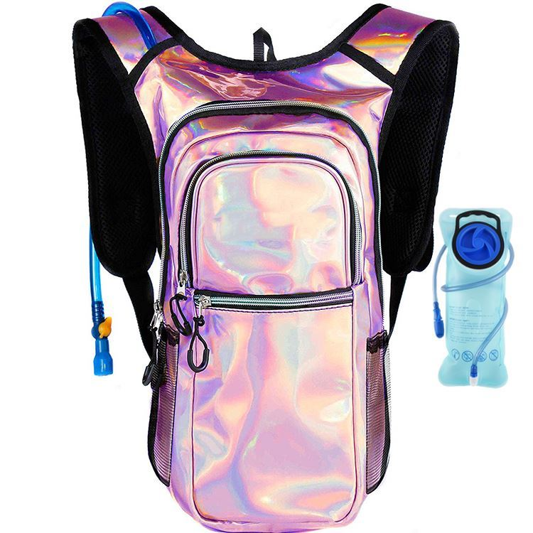 Osgoodway Pink Custom Logo Hydration Backpack Holographic Hiking Backpack with Hydration System