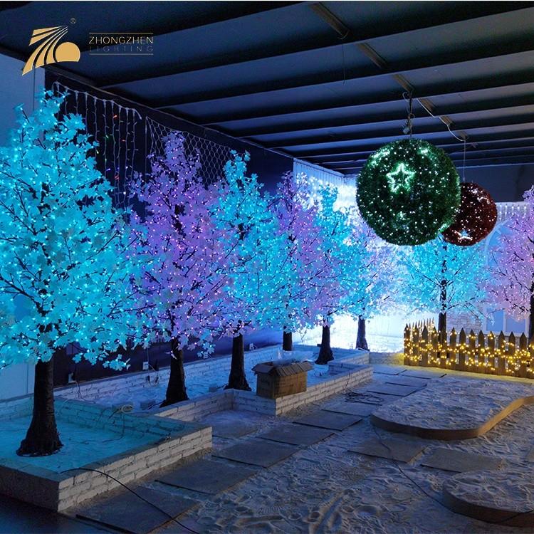 Custom Holiday Decoration Mofti Lighting LED Artificial Pine Shape Maple Tree Lamp