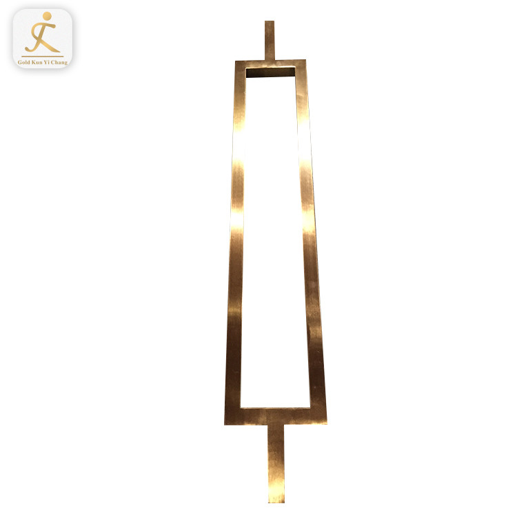 rectangle hairline gold entry front glass door pull handle simple design stainless steel pull out double side door handle