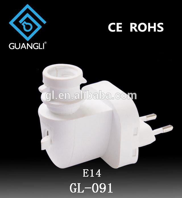 091 CE ROHS approved E14 night light electrical plug socket with European plug in lamp holder salt lamp 220V or 240V