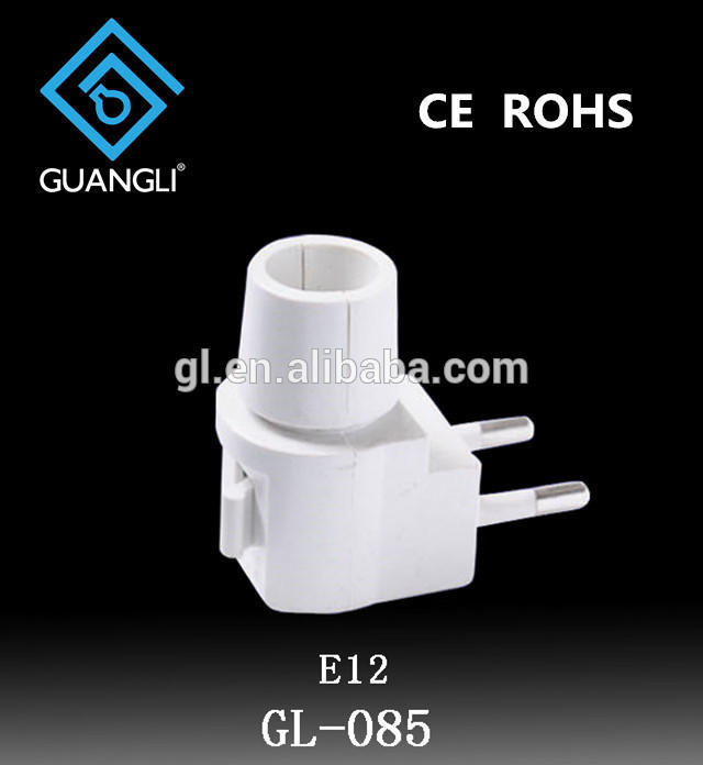 CE ROSH European plug in approved Switch night light electrical plug socket lamp holder with 5W or 7W or 15W and 220V or 240V