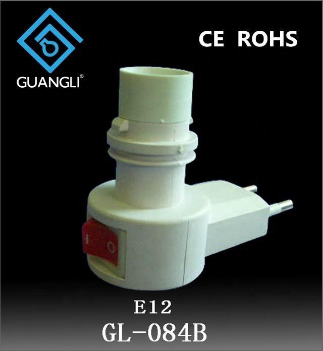 CE ROHS 084B E12 lamp holder switch night light Eu electrical plug in socket