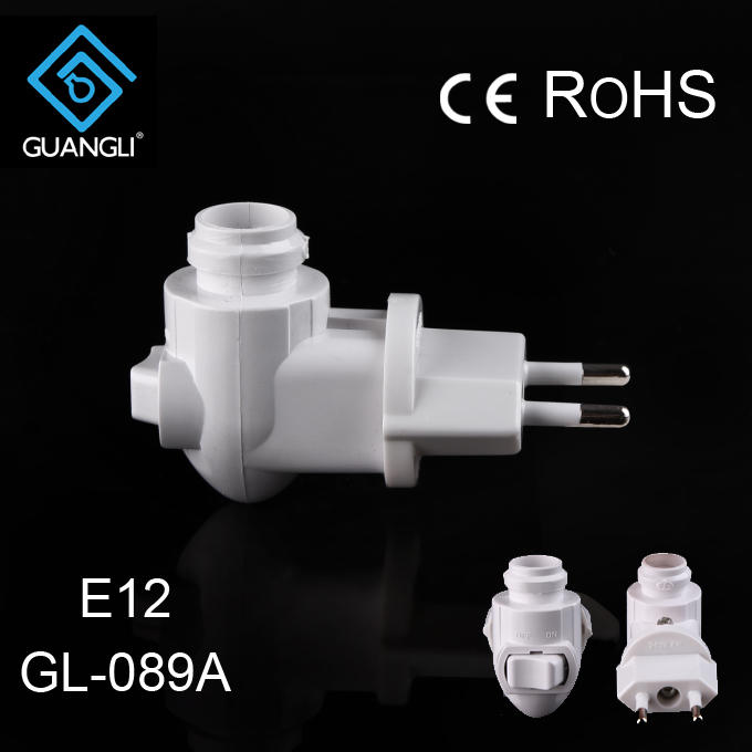 089A CE ROHS approved switch lamp socket Wall lamp Night light rotating plug lamp holder European plug in and 220V