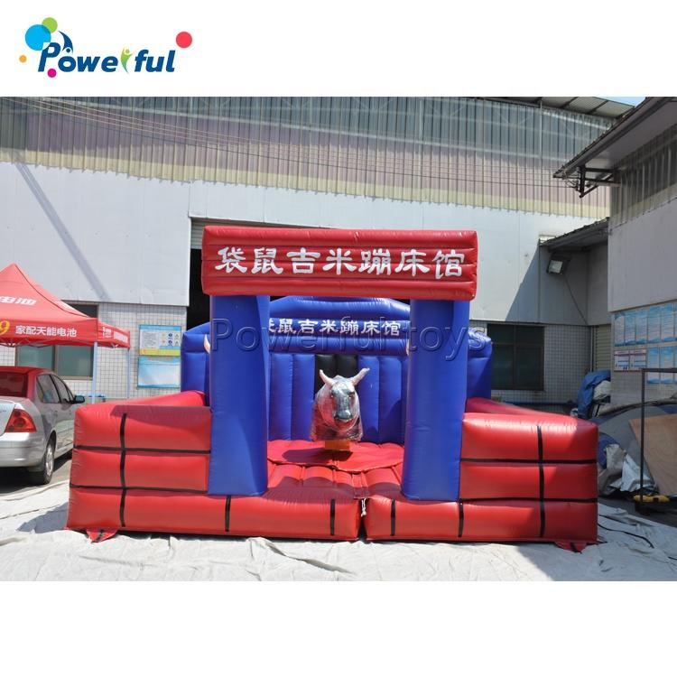 Crazy game different shape inflatable mechanical bull trampoline mechanical rodeo bull for sale