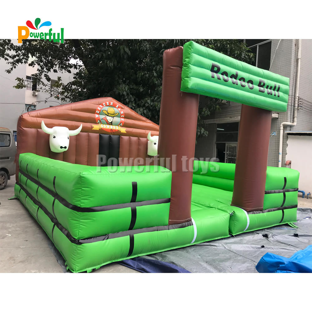 Square shape inflatable mechanical bull riding rodeo simulator for sale