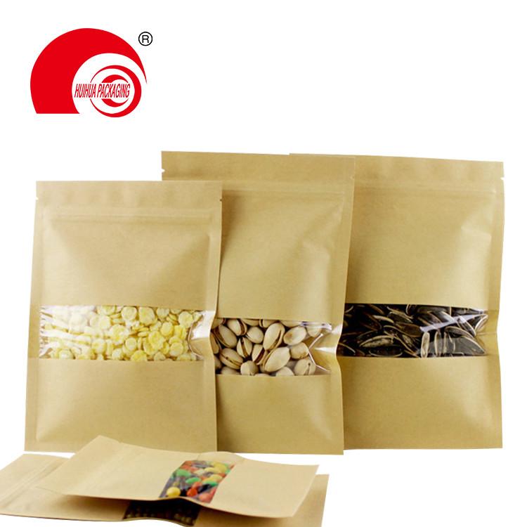 product-Huihua-matt window type brown kraft paper bag aluminum foil inside zip lock stand up pouches