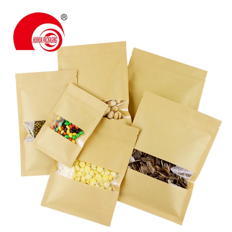 product-matt window type brown kraft paper bag aluminum foil inside zip lock stand up pouches for da-1